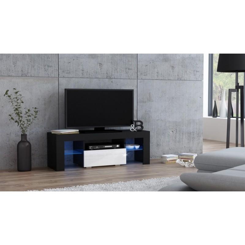 Masă RTV MILANO 110 + LED neagră, cu sertar alb