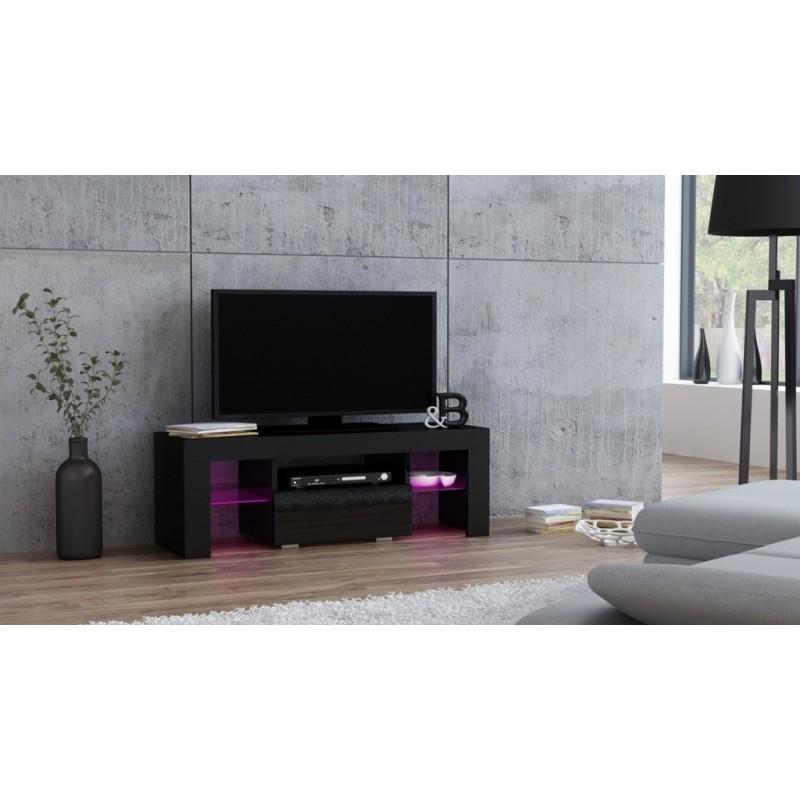 Masă RTV MILANO 110 + LED neagră, cu sertar negru