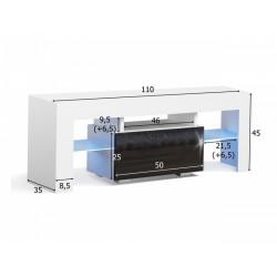 Masă RTV MILANO 110 + LED neagră, cu sertar gri