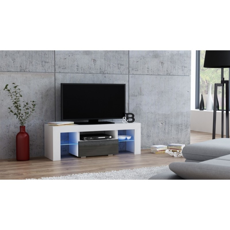 Masă RTV MILANO 110 + LED albă, cu sertar gri