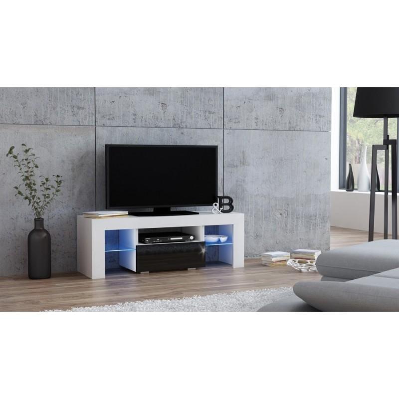 Masă RTV MILANO 110 + LED alb/negru, cu sertar