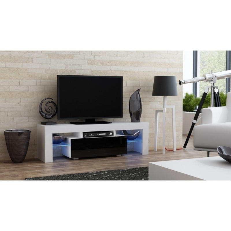 Masă RTV MILANO 130 + LED alb/negru, cu sertar