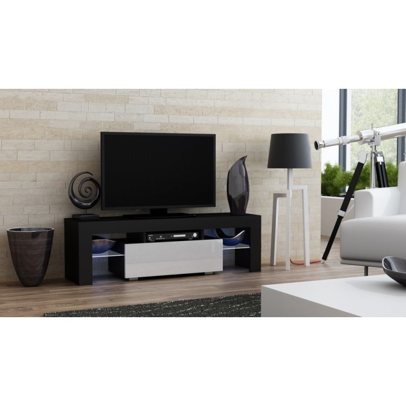 Masă RTV MILANO 130 + LED neagră, cu sertar alb