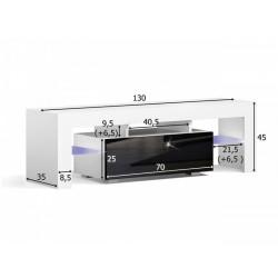 Masă RTV MILANO 130 + LED neagră, cu sertar gri