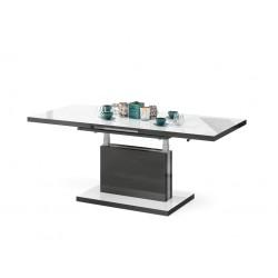 ASTON luciu alb / luciu antracit, pliere, masă de conferință de ridicare, masă
