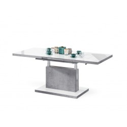 ASTON luciu alb / beton, pliere, masă de conferință de ridicare, masă