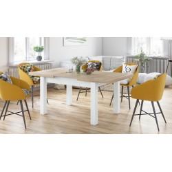 ROYAL Stejar Sonoma/Alb Mat, MESE DE BUCĂTĂRIE, masă pliabilă pentru 8 persoane