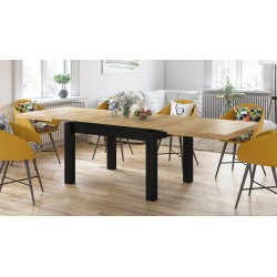 ROYAL Stejar Craft Auriu/Negru Mat, MESE DE BUCĂTĂRIE, masă pliabilă pentru 8 persoane