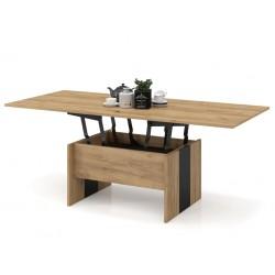 SOLO stejar auriu / negru, pliere, ridicare, masă de cafea