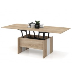 SOLO stejar sonoma / alb, pliere, ridicare, masă de cafea