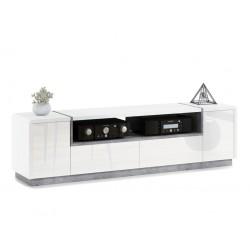 FOLK RTV-185, comoda TV, alb mat și lucios / beton