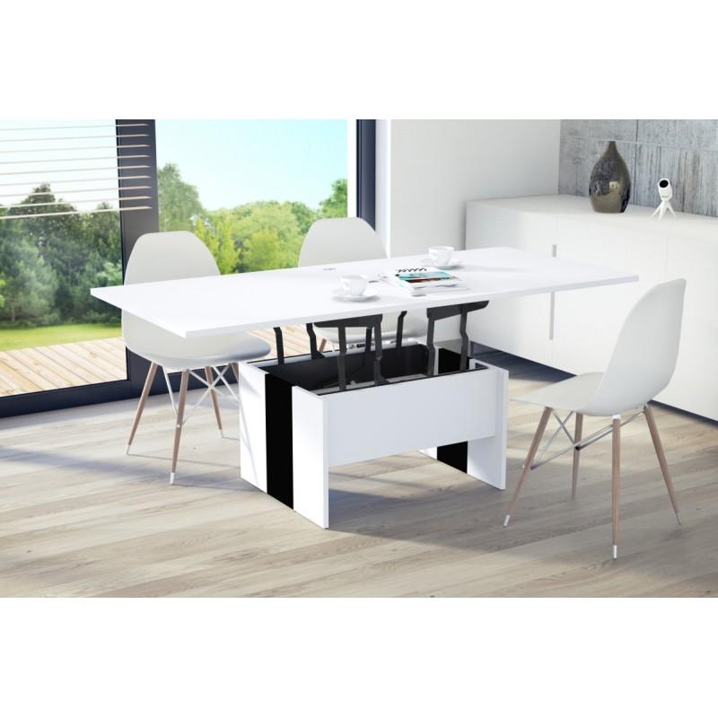 SOLO alb / negru, pliere, ridicare, masă de cafea